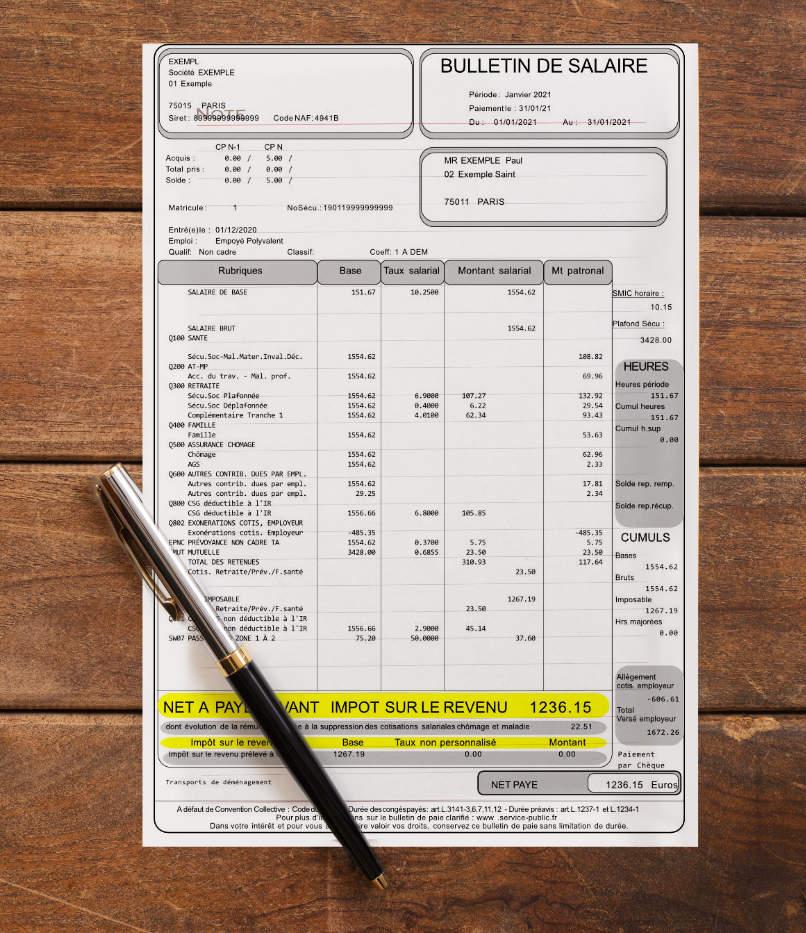 Exemple bulletin de salaire - Illustration C.G.P.A.S OFFICE accompagnement d'entreprises - gestion de la paie - formation - Gonesse